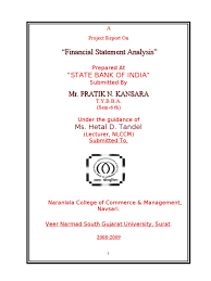 Objective Of Financial Statement Analysis Project On Sbi Banking Data Financial Statement