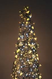 the lighted tree make a tree from a tomato cage and