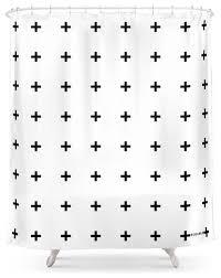 society6 black plus on white shower curtain scandinavian