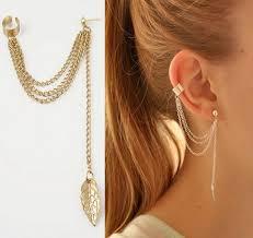 2018 women clip earring rock tassel leaves chain dangle ear