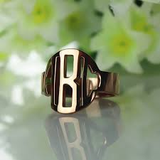 Gold Monogram Rings Personalized Rose Gold Block Monogram Design Ring