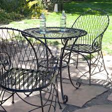 Wrought Iron Patio Bistro Set 3 Piece Black Metal Patio Furniture Bistro Set With Round Table 2