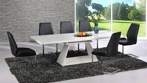 Modern White High Gloss Extending Dining Table And  Black Chairs - Black dining table for 8