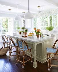 kitchen island blue white rattan bars stools white marble kitchen