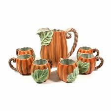 fitz floyd oci pumpkin pitcher six mugs thanksgiving fall
