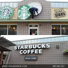 sign reface for starbucks branding update signs of all kinds