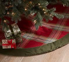 brown tree skirt plaid and velvet tree skirt pottery barn