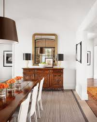 mirror above buffet table dining room contemporary with wood