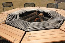 sit around grill table barbecue picnic table lets everyone cook their own meal
