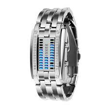 mens bracelet digital images Future technology binary watch men 39 s women black stainless steel jpg