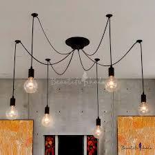 Multi Pendant Light Simple 8 Light Edison Bulb Black Led Multi Light Pendant Multi