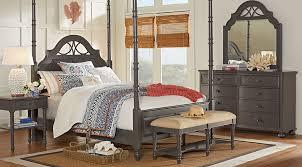 king poster bedroom set cindy crawford home seaside gray 8 pc queen poster bedroom queen