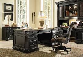 Solid Wood Executive Office Furniture by Telluride Distressed Black Finish Executive Desk With Wood Panels