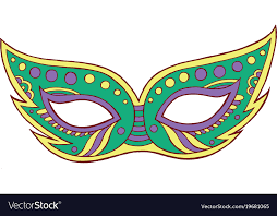 mardi gras mask and mardi gras mask isolated element doodle vector image