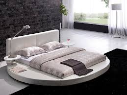 Platform Beds White Vilenno King Size Modern Style Round Leather Platform Bed White