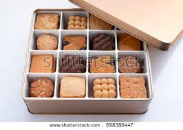 merry gift box gold biscuits stock photo 698386486
