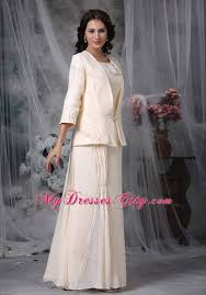 diamond scoop long mother of the groom dresses with coat
