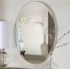 Polished Nickel Bathroom Mirrors by Bathroom Oval Bathroom Beveled Mirror With Polished Nickel