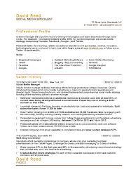 Sales Marketing Resume Sample Social Media Marketing Resume Resume For Your Job Application