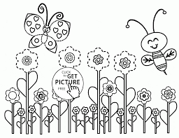 funny bee and butterfly spring coloring page for kids seasons