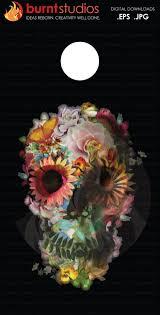 colorful floral sugar skull on black background corn board
