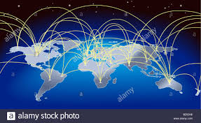 Flight Routes Map by A World Map Background With Flight Paths Or Trade Routes Stock