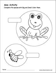 kindergarten activities big and small sizes big and small activity worksheet for preschool children