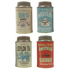 set of 4 tea tin canisters retro vintage caddy ceylon darjeeling