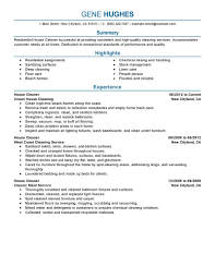 Sample Resume Maintenance by Commercial Cleaner Resume Residential House Cleaner And