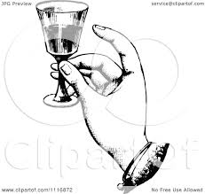 wine clipart clipart of a retro vintage black and white hand toasting with wine