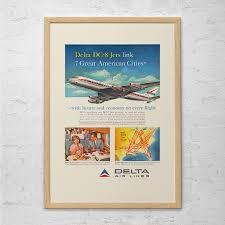 aviation decor home vintage delta airlines ad retro mid century ad retro