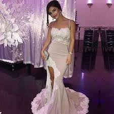 spaghetti straps long prom dress for women with split front
