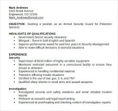 Entry Level Security Guard Resume Sample by Student Entry Level Security Guard Resume Template