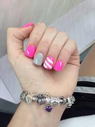 silver and pink acrylic nail design nails pinterest pink