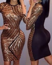 sequin dresses golden black sequin neck half sleeve bodycon party dress