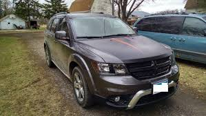 Dodge Journey Custom - plastidip hood with orange hood stripes dodge journey member