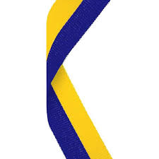 blue and yellow ribbon blue yellow medal ribbon bracknell engraving trophy services