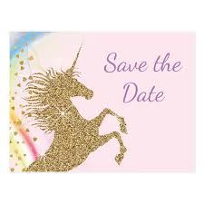unicorn birthday save the date postcards zazzle
