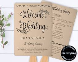wedding fans programs printable wedding program template rustic wedding fan