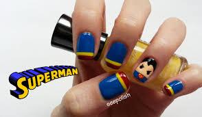 cute u0026 easy superman nail art youtube