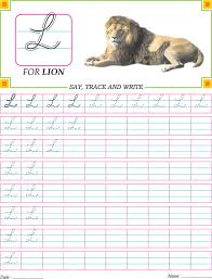 cursive capital letter l practice worksheet handwriting