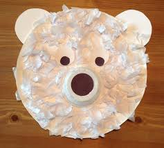 paper plate polar bear craft the nose is an applesauce container