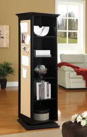 rotating storage cabinet with mirror black finish wood rotating storage cabinet with large cork board and
