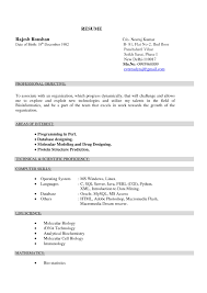 Resume Samples 2017 For Freshers by Resume Format For Msc Biochemistry Freshers Resume Format