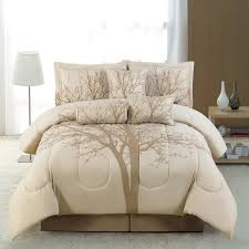 brown tree pattern of comforter sets with brown bed combined