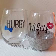 his hers wine glasses mr mrs wedding set stemless wine glasses hubby