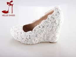 wedding shoes wedges ivory lace and wedding wedges the ultimate embellished