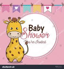 invitation baby shower card giraffe desing stock vector 485995303