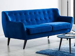 canap bleu roi canapé 3 places scandinave en velours bleu nuit serti