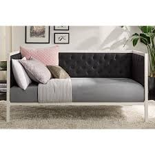 dhp soho modern daybed white metal with black linen multiple